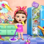 Sweet Baby Girl Cleanup Messy House
